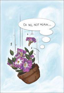 Falling flower pot