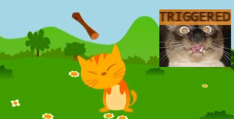 A cat is hit by a flying stick, thus triggering a more sensitive, woke moggy
