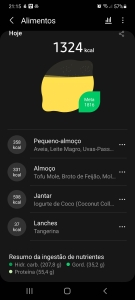 Samsung Health in Portuguese - the picture shows the meal tracking screen